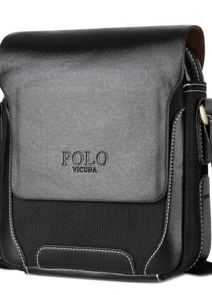 Мужская сумка через плечо, мессенджер polo vicunav8837 черная