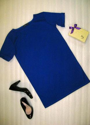 Трендовое синее повседневное платье-футболка сукня прямого кроя от boohoo размер s