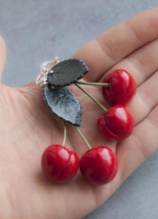 Черешни серьги клипсы вишни