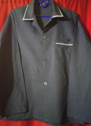 🌙тёмно синяя рубашка для сна с длинным рукавом s