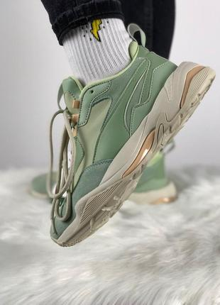 Шикарные женские кроссовки puma thunder desert (smoke green / silver green)
