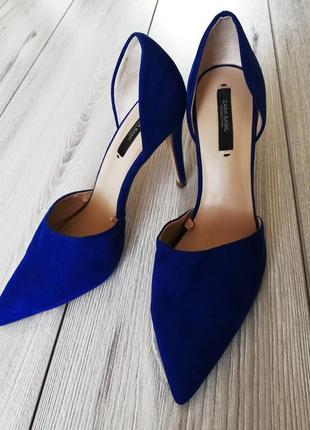 Синие туфли лодочки zara