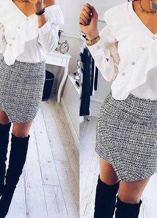 Классная твидовая юбка с асимметрией, твид