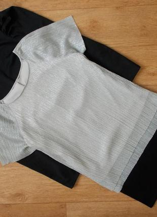 Серебристая блуза, футболка плиссе f&f