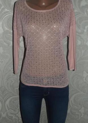 Летний кружевной тонкий асимметричный свитер only размер с-м