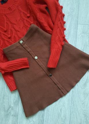 🍁крутая коричневая юбка на пуговках atmosphere