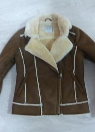 Дубленка косуха пальто next р.140 см.