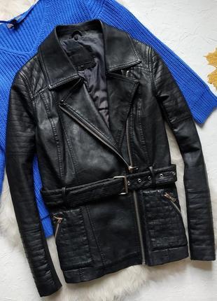 Куртка косуха кожанка с трикотажными вставками