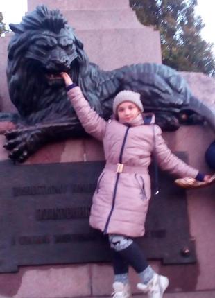 Зимняя детская подростковая куртка пальто парка nestta 44р мех енот