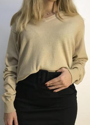 Шелковый кашемировый свитер джемпер бежевого цвета bvs