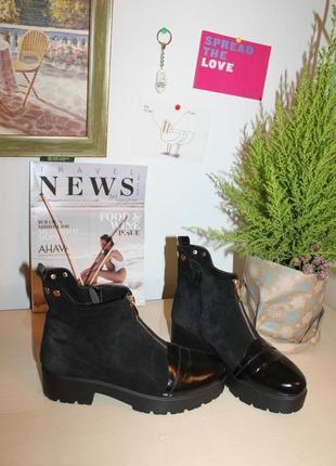 Натуральная кожа+натуральная замша, идеальные, очень удобные ботиночки на низком каблуке