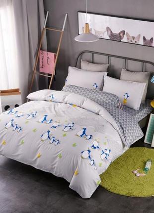Подростковое полуторное постельное белье viluta сатин 183 пингвины