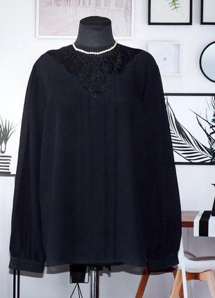 Блуза свободного кроя с кружевной кокеткой sixth sense