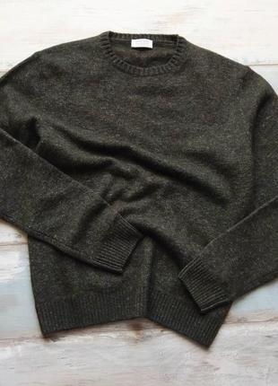 Шерстяной итальянский свитер оливкового цвета heritage
