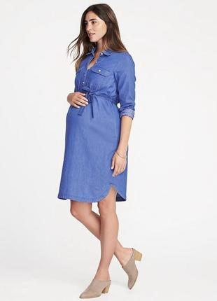 Джинсовое платье-рубашка для беременных