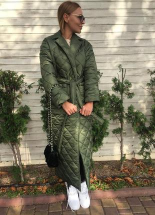 Стеганное пальто оверсайз