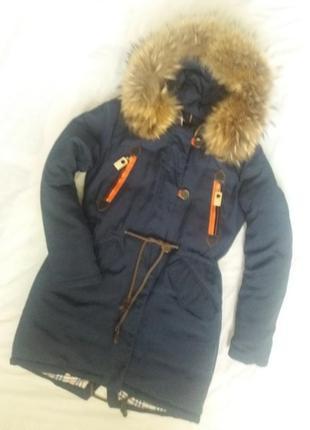 Зимняя куртка парка мехом енота