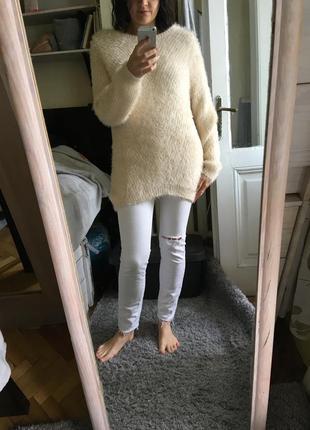 Тёплая туника платье травка 10-12 сливки