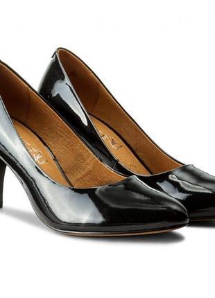 Туфли из натуральной кожи немецкого бренда caprice черные, р. 37, 38