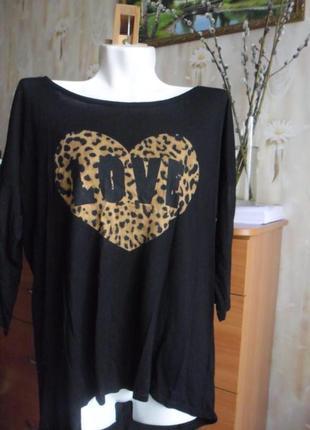 Чёрная кофточка с принятом леопардового сердца и рукавом три четверти
