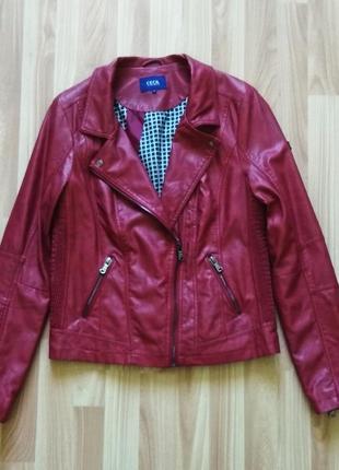 Красная косуха кожанка от cecil, куртка, курточка