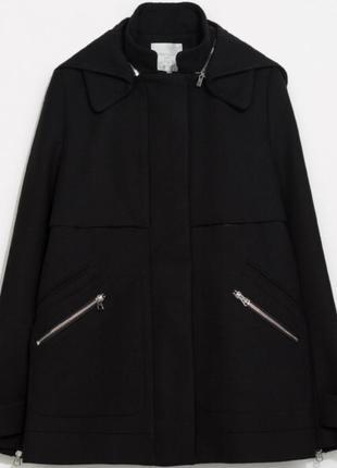 Полупальто /короткое пальто чёрное zara осень -зима
