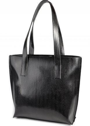 Черная сумка шоппер на плечо с длинными ручками под питона