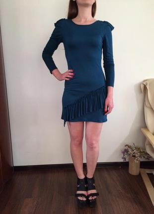 Трикотажное синее платье с длинным рукавом