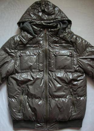 Новый зимний теплый пуховик с капюшоном куртка andrea puccini