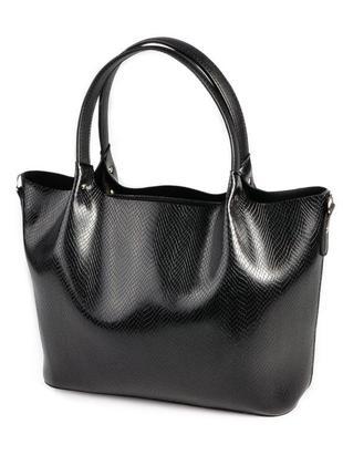 Черная сумка шоппер через плечо оригинальная с ручками под кожу змеи