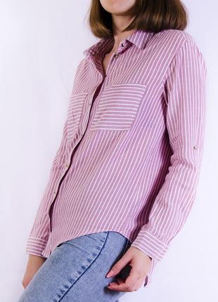 Классическая рубашка в полоску, блуза с удленной спинкой atmosphere