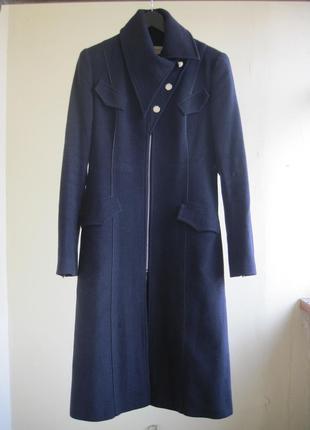 Шерстяное синее пальто dolcedonna пальто миди на молнии 80 % шерсть