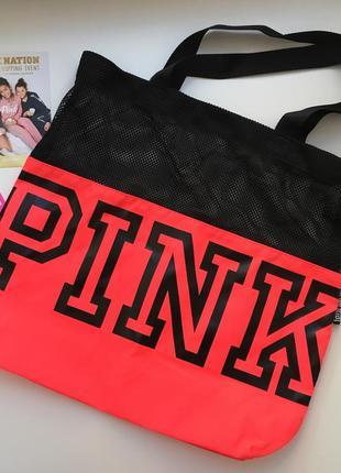 Яркая легкая сумка pink от victoria's secret с длинными ручками, оригинал