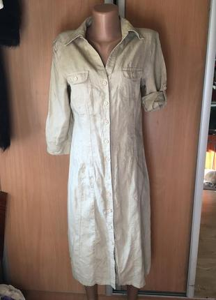 Платье рубашка 💯 % лён размер 8