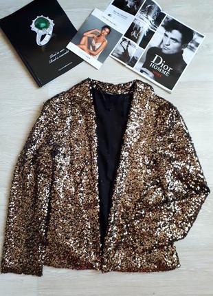 Пиджак в золотых пайетках / золотой жакет