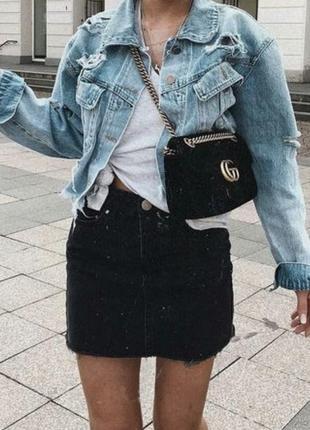 Юбка мини джинсовая необычная