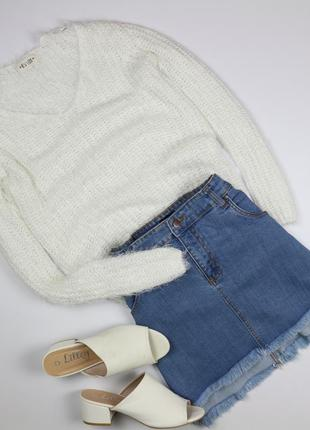 Крутой объемный вязаный свитер с длинным рукавом