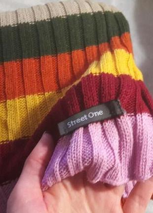 Разноцветный теплый вязаный шарф