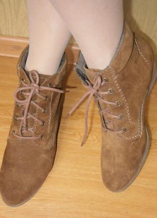 Удобнейшие ботиночки 27 см/нат.замш/танкетка