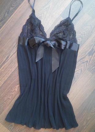 Чорный пеньюар пижама с плисировкой