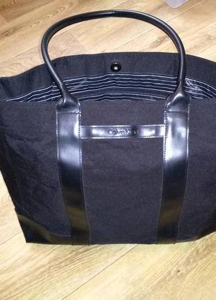 Сумка шоппер calvin klein оригинал! shopper bag нейлон + кожа