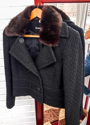 Шерстяная твидовая косуха с мехом пиджак жакет