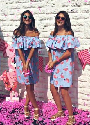 Голубое хлопковое платье с розовыми фламинго {с воланом}. супер на море!