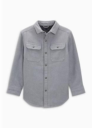 Теплая рубашка курткой на меху на мальчика подростка в школу next