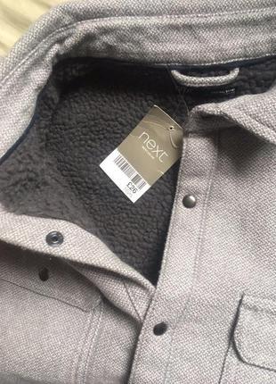 Теплая рубашка курткой на меху на мальчика подростка в школу next2 фото