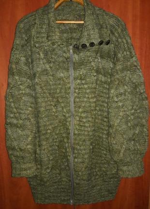Очень теплая шерстяная кофта, пальто, кардиган большого размера