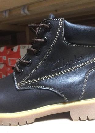 Зимние ботинки из натуральной кожи clarks 33,32,33,34,35,36,37,38,39
