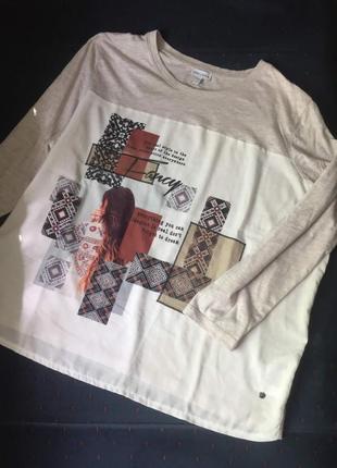 Очаровательная комбинированная футболочка большого размера от gina laura