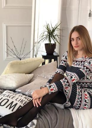 Теплое зимнее платье с новогодним принтом с оленями много размеров