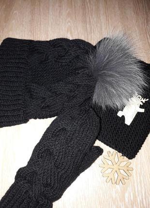 Hand made женская шапка варежки снуд шарф